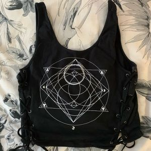 Black Crop Top with Lace Up Sides!